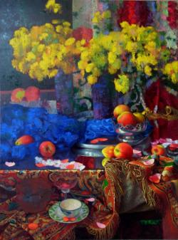 Яблоки между цветами